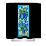Finished15 Ink Drawing Handtowel Series W Black Background Shower Curtain