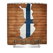 Finland Rustic Map On Wood Shower Curtain