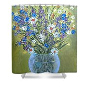 Field Flowers In A Transparent Jug Shower Curtain