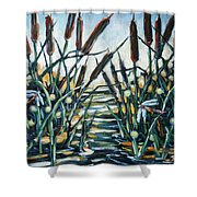 Fire And Dragonflies Shower Curtain