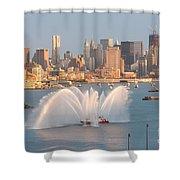 Fire Boat And Manhattan Skyline Iv Shower Curtain