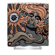 Fire Elemental, Metallic Shower Curtain