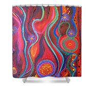 Fire Engine Red Explosion Shower Curtain by Daina White