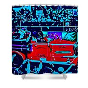 Fire Engine Red In Blue Shower Curtain