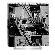 Fire Escape With Clothes Hung To Dry Shower Curtain