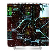 Fire Escapes In The Snow Shower Curtain