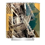 Fire Escapes In White And Gold Shower Curtain