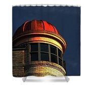 Fire Helmet Building Shower Curtain
