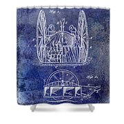 Fire Hose Cart Patent Blue Shower Curtain