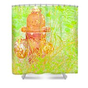 Fire Hydrant Watercolor Shower Curtain