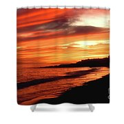 Fire In Sky Shower Curtain