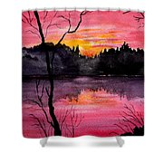 Fire In The Sky    Lake Arrowhead Maine Shower Curtain