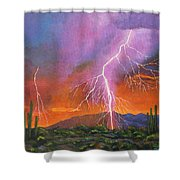 Fire In The Sky Shower Curtain