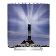 Fire Island Lighthouse Twilight Shower Curtain
