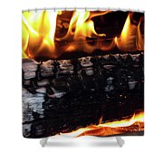 Fire On Wood Shower Curtain