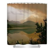 Fire Over St Mary Lake Shower Curtain
