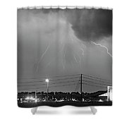 Fire Rescue Station 67  Lightning Thunderstorm Black And White Shower Curtain
