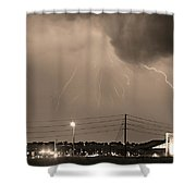 Fire Rescue Station 67  Lightning Thunderstorm Sepia Black And W Shower Curtain