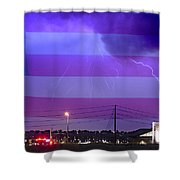 Fire Rescue Station 67  Lightning Thunderstorm With Usa Flag Shower Curtain