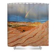 Fire Wave Rainbow Dawn Shower Curtain