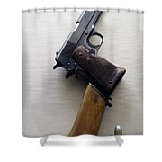 Firearms 1917 Colt Model 1911 Semi Auto 45cal With Shoulder Stock Shower Curtain