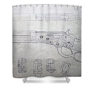 Firearms Lever Action Rifle Drawing Shower Curtain