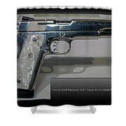 Firearms Smith And Wesson 1911 Semi Auto 45cal Pearl Handle Pistol Shower Curtain