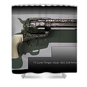 Firearms Tv Lone Ranger 45cal 1960 Colt Army Revolver Shower Curtain
