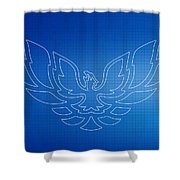 Firebird Blueprint Shower Curtain