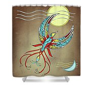 Firebird With Sun And Moon Shower Curtain