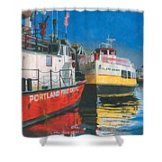 Fireboat And Ferries Shower Curtain by Dominic White