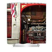 Firefighters Of New York - Engine Sweet 14 - Closeup Shower Curtain