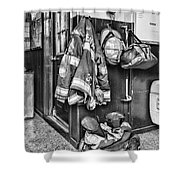 Fireman - Always Ready - Black And White Shower Curtain