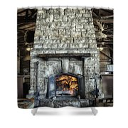Fireplace At The Lodge Vertical Shower Curtain