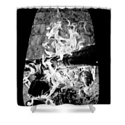 Fireplace Black And White Shower Curtain