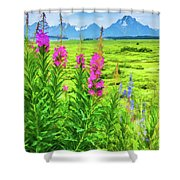 Fireweed In The Foreground 2 Shower Curtain