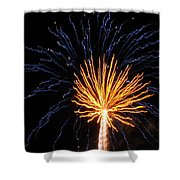 Firework Blue And Gold Shower Curtain