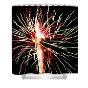 Firework Pink And Green Streaks Shower Curtain