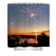 Fireworks And Sunset Shower Curtain by Amber Flowers