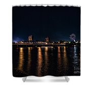 Fireworks And The Blue Bridge Shower Curtain