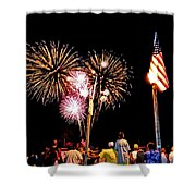 Fireworks And The Flag Shower Curtain