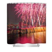 Fireworks And Waterfall Shower Curtain