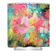 Fireworks Floral Abstract Square Shower Curtain