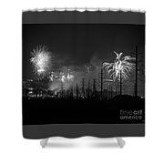 Fireworks In Black And White Shower Curtain