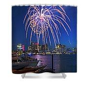 Fireworks Over The Boston Skyline Boston Harbor Illumination Streaming Down Shower Curtain