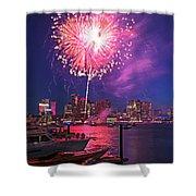 Fireworks Over The Boston Skyline Boston Harbor Illumination Shower Curtain