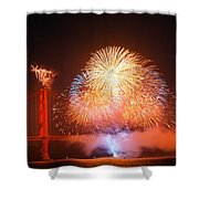 Fireworks Over The Golden Gate Bridge Shower Curtain
