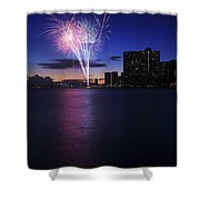 Fireworks Over Waikiki Shower Curtain by Brandon Tabiolo - Printscapes