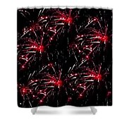 Fireworks - Red Bursts Shower Curtain