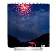 Fireworks Show In The Mountains Shower Curtain